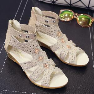 Rivets Rhinestones Low Wedge Sandals -