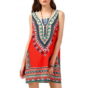 Tribal Print Sleeveless Tunic Dress