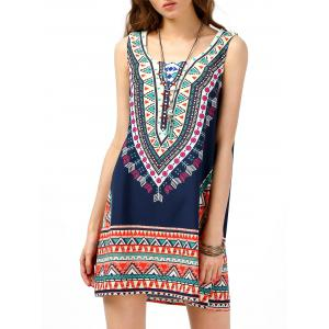 Tribal Print Sleeveless Tunic Dress - Purplish Blue - M
