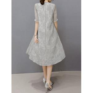Embroidered Layered Modest A Line Dress - GRAY S