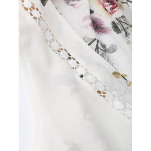 Sleevelss Chiffon Mini Floral Dress - WHITE M