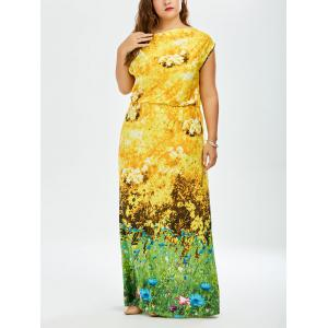 Sunflower Printed Long Plus Size Maxi Dress