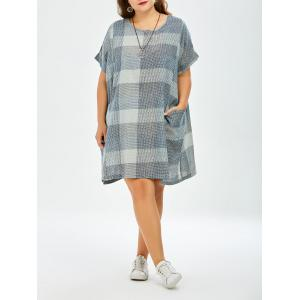 Plaid Plus Size Mini Trapeze  Dress With Pockets - Blue Gray - One Size