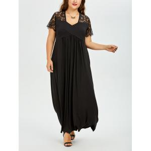 Plus Size Long Lace Panel Maxi A Line Prom Dress