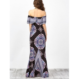 Off The Shoulder Floral Maxi Boho Summer Dress - BLACK 2XL
