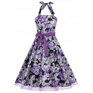 Halter Floral Print Belted Retro Style Dress