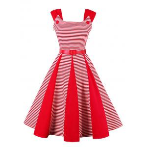Striped Vintage Fit and Flare Dress - Red - 2xl