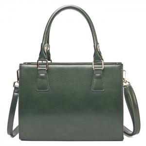Cross Body Faux Leather Tote Bag - Green