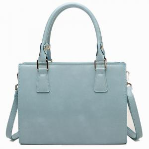 Cross Body Faux Leather Tote Bag - Blue
