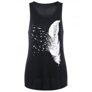 Feather Printed Racerback Tank Top
