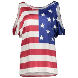Plus Size Cold Shoulder Patriotic American Flag Print Top