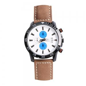 Faux Leather Strap Number Date Analog Watch - BLUE