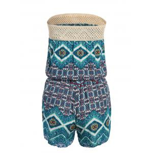 Open Knit Panel Allover Print Tube Romper -