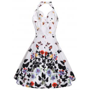 Halter A Line Butterfly Print Dress - WHITE 2XL