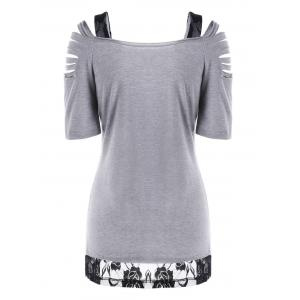 Lace Trim Ripped Floral T-Shirt - GRAY M