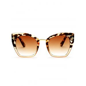 UV Protection Metallic Square Mirrored Reflective Sunglasses - TEA-COLORED