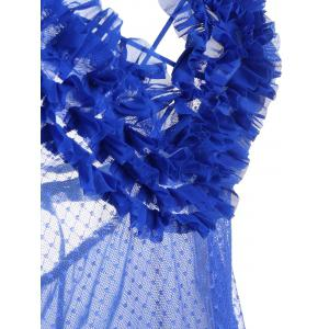 Ruffles Sheer Backless Babydoll Nightdress - Bleu TAILLE MOYENNE