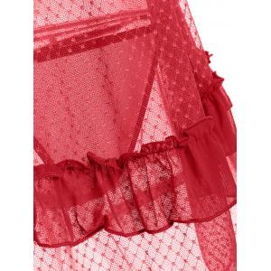 Ruffles Sheer Backless Babydoll Nightdress - Rouge TAILLE MOYENNE