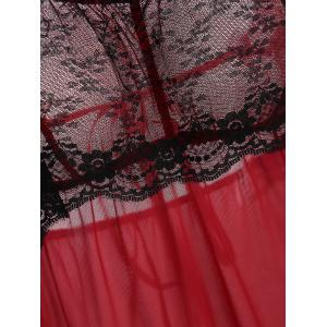 Lace Flounce Fringe Mesh Cami Babydoll - RED ONE SIZE