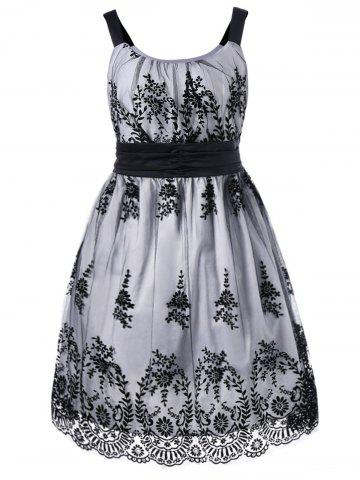 Cheap Plus Size High Waist Ball Gown Dress - 2XL WHITE AND BLACK Mobile