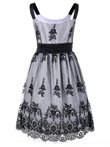 Sale Plus Size High Waist Ball Gown Dress - 2XL WHITE AND BLACK Mobile