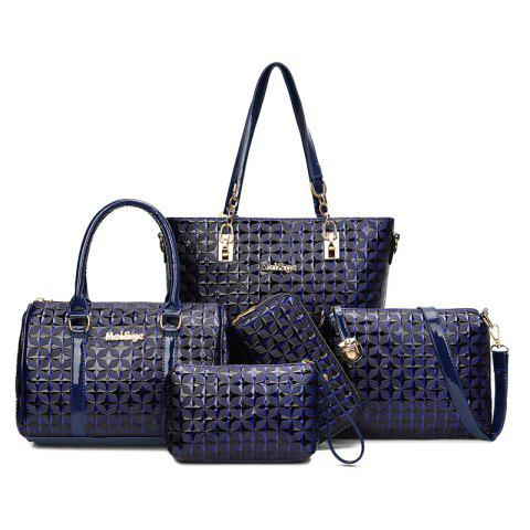 Affordable 5 Pieces Rhombic Embossed Handbag Set BLUE