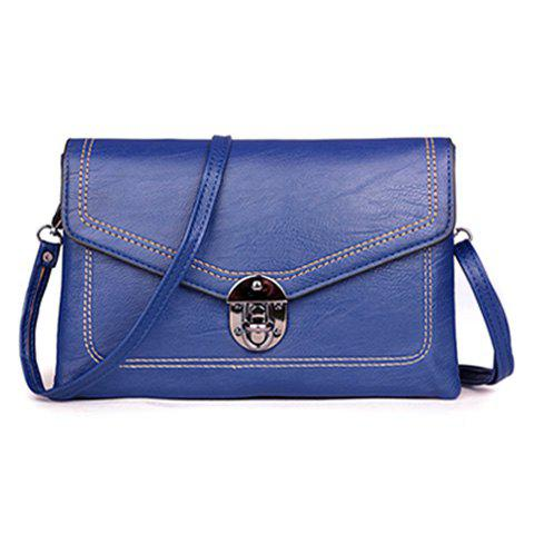 Fashion Metal Detail Envelope Clutch Bag BLUE