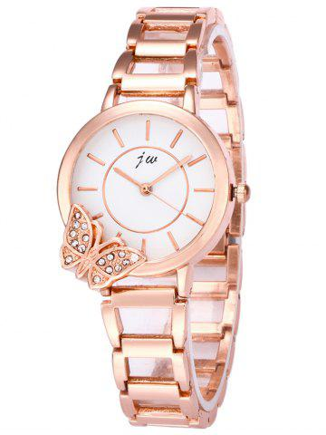 JW Rhinestone Butterfly Wrist Quartz Watch - White