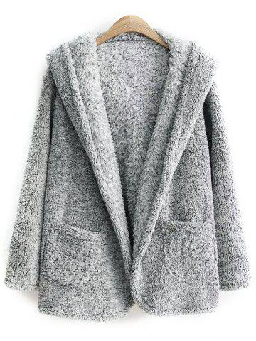 Outfit Hooded One Button Fleece Coat