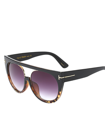 Hollow Cut Flat Top Outdoor Sunglasses - Black+leopard C2