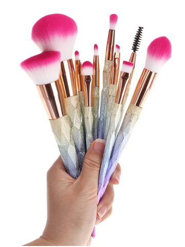 Trendy 10 Pcs Glitter Rainbow Makeup Brushes Set