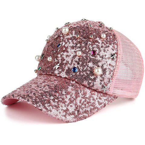 Unique Star Faux Pearl Mesh Spliced Baseball Hat PINK