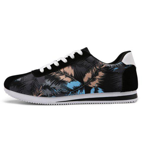 Chic Suede Insert Leaves Printed Casual Shoes - 44 BLACK Mobile
