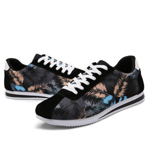 Shops Suede Insert Leaves Printed Casual Shoes - 44 BLACK Mobile