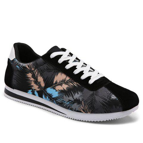 Trendy Suede Insert Leaves Printed Casual Shoes - 44 BLACK Mobile