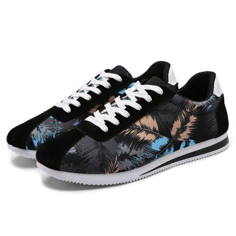 Sale Suede Insert Leaves Printed Casual Shoes - 44 BLACK Mobile