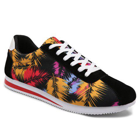 Suede Insert Leaves Printed Casual Shoes - Red - 42