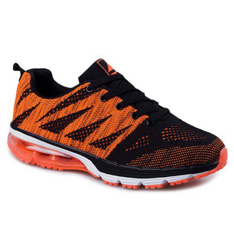 Cheap Breathable Color Block Athletic Sports Mesh Trainers BLACK AND ORANGE 43