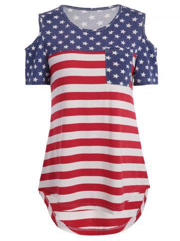 Wholesale Distressed American Flag Pattern Cold Shoulder T-Shirt ...