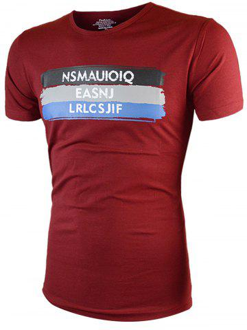 Graphic Printed Short Sleeves Tee - WINE RED XL