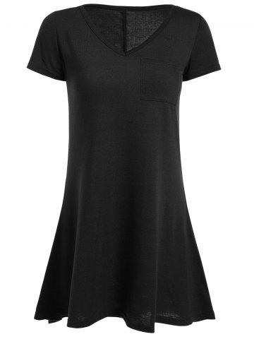 Cheap High Low Short Sleeve Mini Dress - M BLACK Mobile
