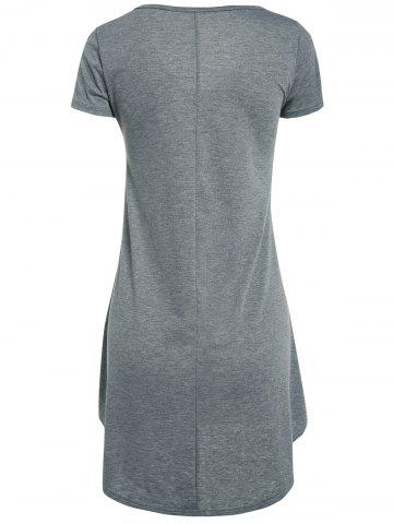 Fancy High Low Short Sleeve Mini Dress - XL GRAY Mobile