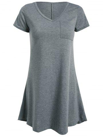 Affordable High Low Short Sleeve Mini Dress - XL GRAY Mobile
