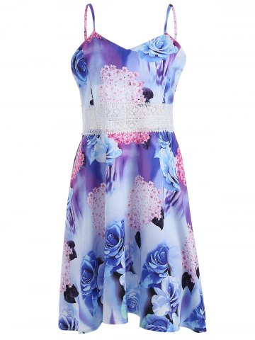 Cheap Lace Insert Backless Floral Slip Summer Dress - S COLORMIX Mobile