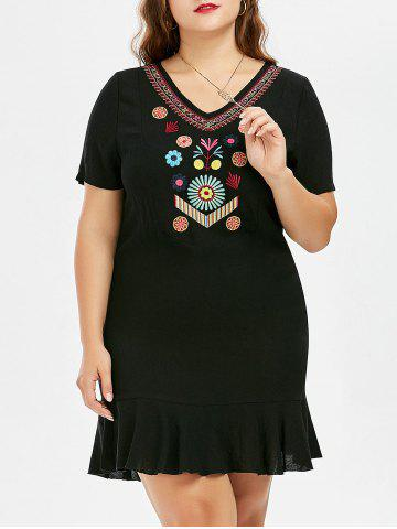 Outfits Plus Size Knee Length Embroidered Dress BLACK 5XL