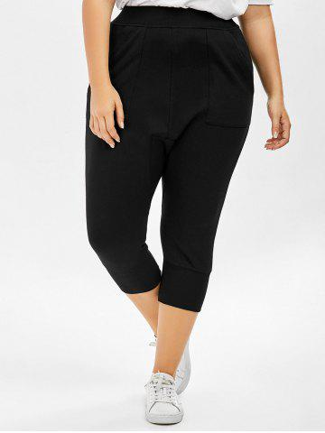 Shop Plus Size Cropped Elastic Waist Pants - ONE SIZE BLACK Mobile
