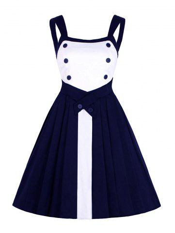 Button Design Contrast Insert Vintage Dress - Purplish Blue - S