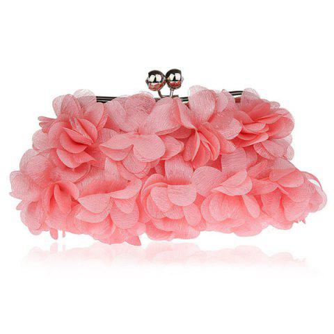 New Kisslock Petal Satin Evening Bag PINK