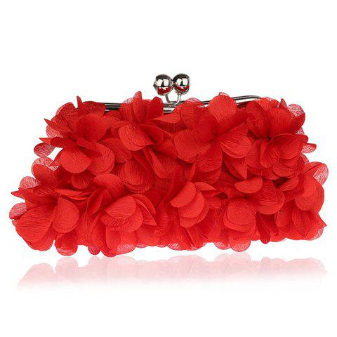 Kisslock Petal Satin Evening Bag Rouge
