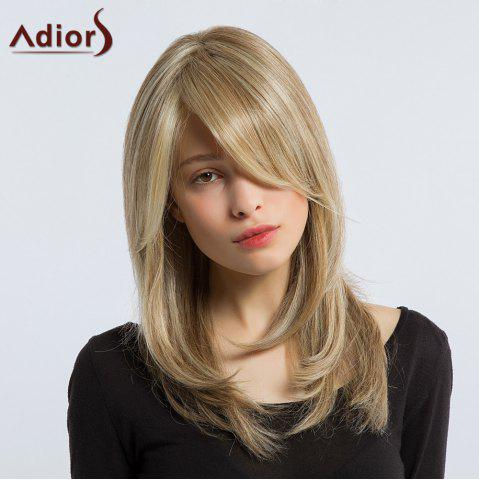 Best Adiors Long Silky Side Bang Layered Tail Adduction Synthetic Wig - COLORMIX  Mobile